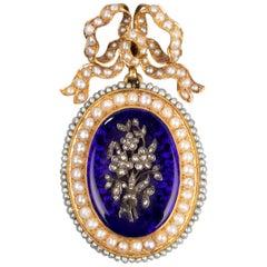 Antique Napoleon III Locket, Gold Enamel and Pearls