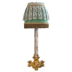 Antique Napoleon III Opaline Glass Lamp with Custom Silk Shade