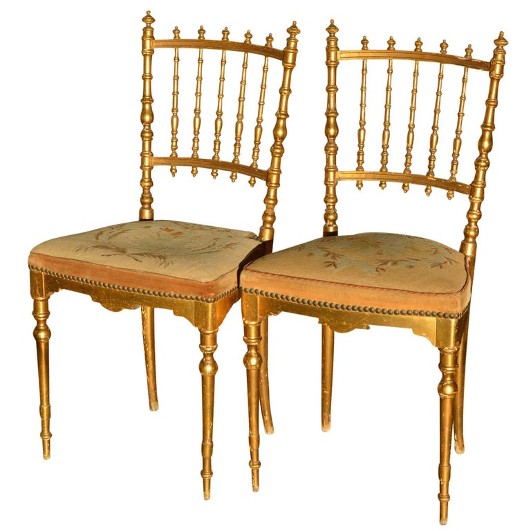 Antique Napoleon Iii Period Dining Chairs Floral Tapestry