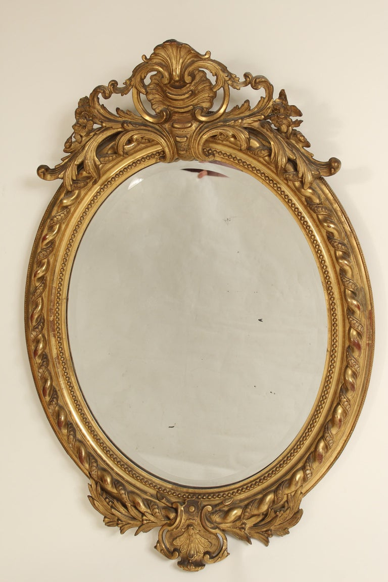 European Antique Napoleon III Style Giltwood Mirror For Sale