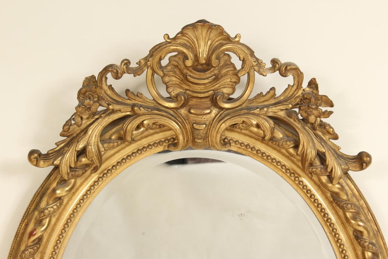 Antique Napoleon III Style Giltwood Mirror In Good Condition For Sale In Laguna Beach, CA