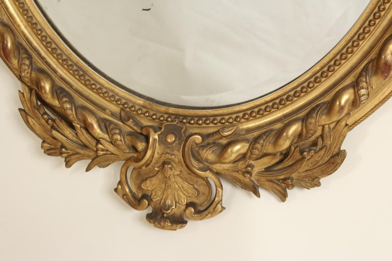 Gesso Antique Napoleon III Style Giltwood Mirror For Sale
