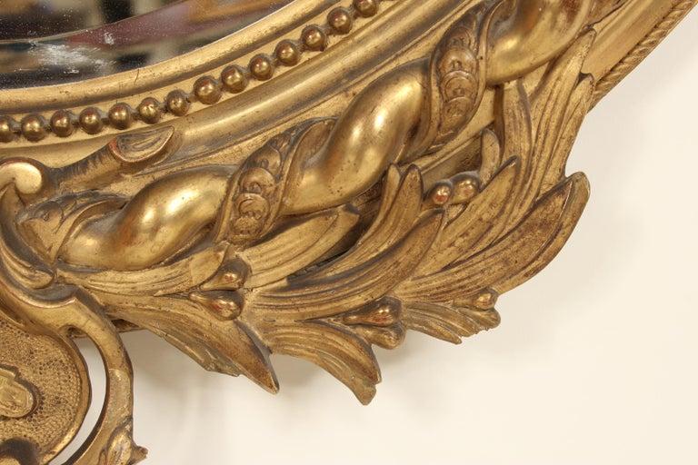 Antique Napoleon III Style Giltwood Mirror For Sale 3