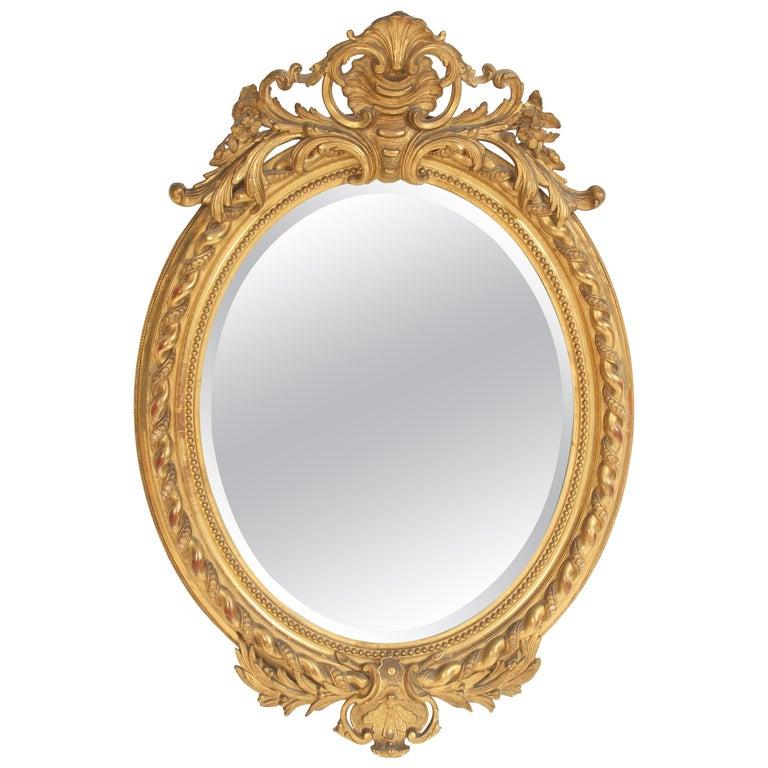 Antique Napoleon III Style Giltwood Mirror For Sale
