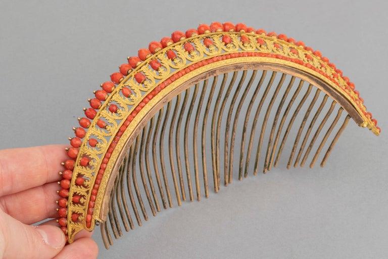 Antike Napoleon III Koralle vergoldete Metall Tiara 2