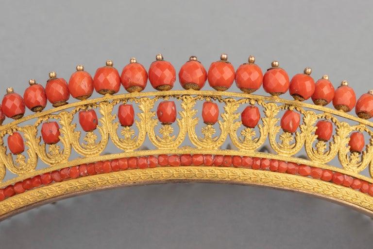 Antike Napoleon III Koralle vergoldete Metall Tiara 3