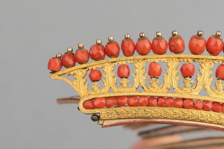 Women's Antique Napoleon III Coral Gilt Metal Tiara For Sale