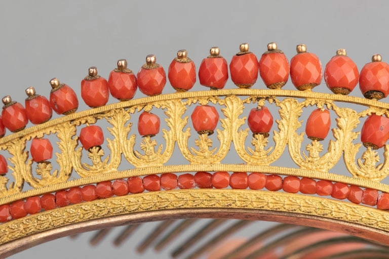 Antique Napoleon III Coral Gilt Metal Tiara For Sale 1