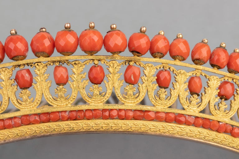 Antique Napoleon III Coral Gilt Metal Tiara For Sale 2