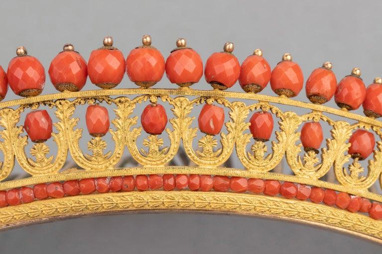 Antike Napoleon III Koralle vergoldete Metall Tiara 6