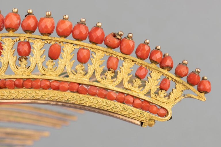 Antique Napoleon III Coral Gilt Metal Tiara For Sale 3