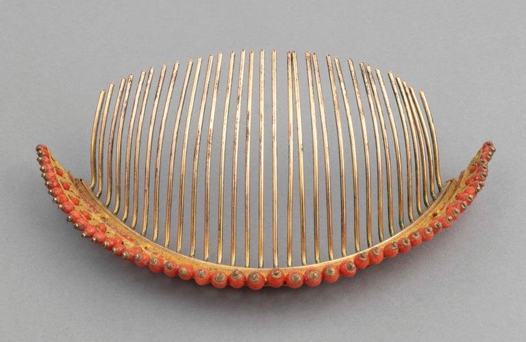 Antike Napoleon III Koralle vergoldete Metall Tiara 8