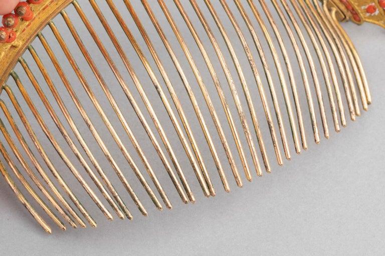 Antike Napoleon III Koralle vergoldete Metall Tiara 9