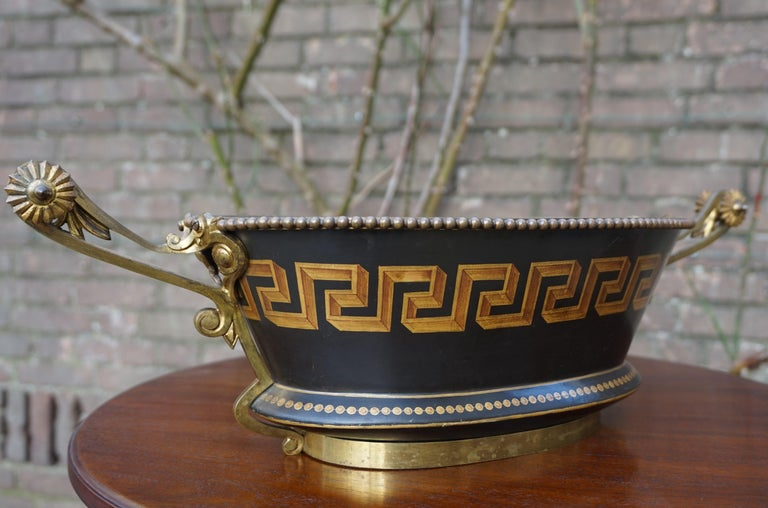 Antique Napoleon Style Bronze & Opaline Jardinière with Hand Painted Key Pattern For Sale 10