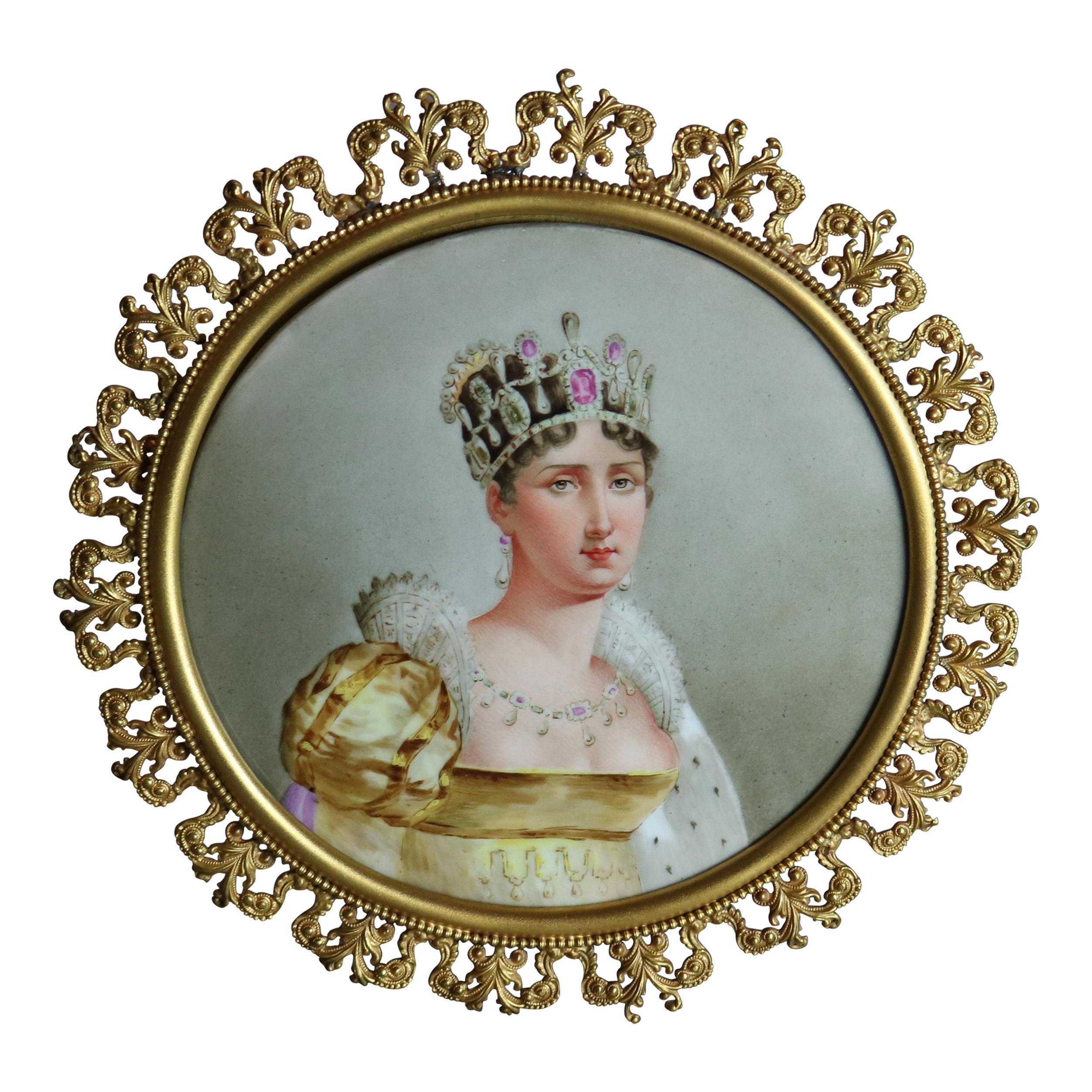 Antique Napoleonic Portrait Painting on Porcelain of Queen Josephine, 19th C