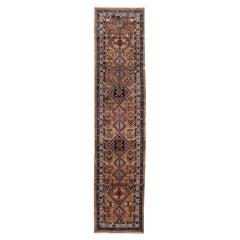 Antique Narrow and Long Diamond Medallions Motifs Persian Hamadan Wool Runner