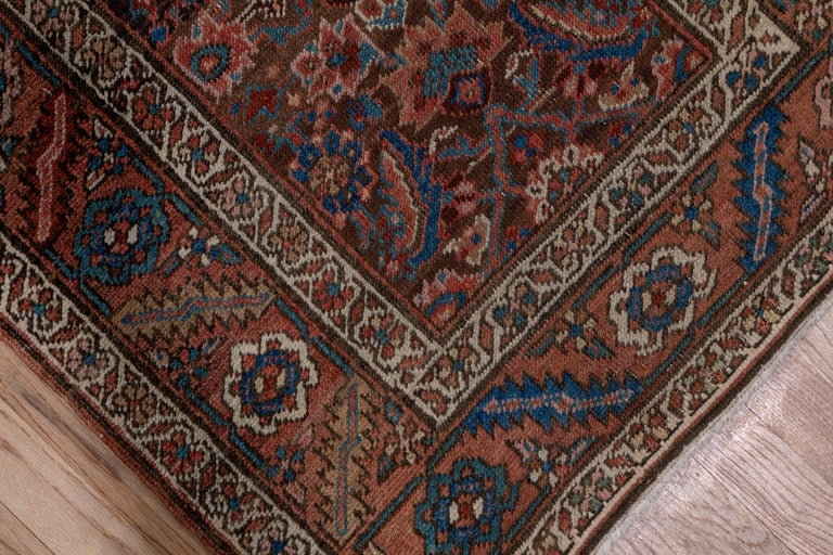Hand-Knotted Antique Narrow Heriz Runner For Sale