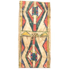 Antique Native American Abstract Painted Parfleche Envelope, Crow, 19th Century