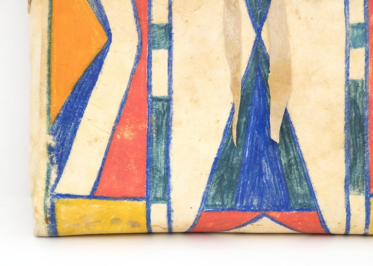 Hand-Crafted Antique Native American Abstract Painted Parfleche Envelope, Plateau, circa 1890 For Sale