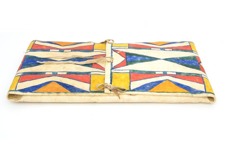 Antique Native American Abstract Painted Parfleche Envelope, Plateau, circa 1890 In Good Condition For Sale In Denver, CO
