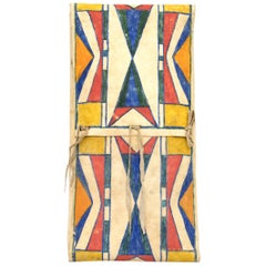 Antique Native American Abstract Painted Parfleche Envelope, Plateau, circa 1890