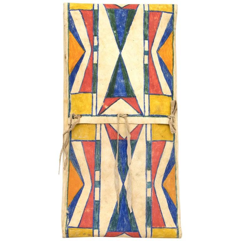 Antique Native American Abstract Painted Parfleche Envelope, Plateau, circa 1890 For Sale