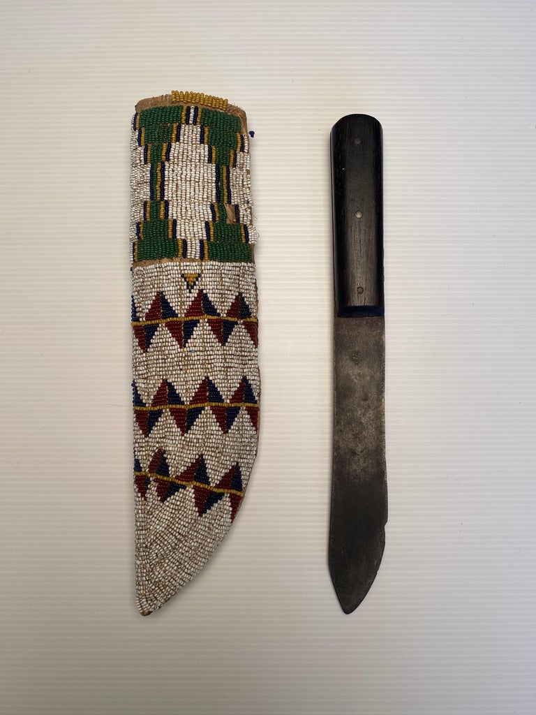 19th Century Antique Native American Beaded Knife Sheath For Sale