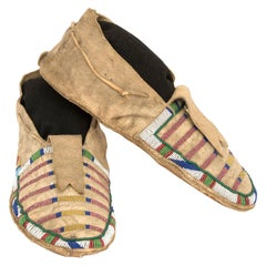 Antique Native American Beaded Moccasins, Crow 'Plains Indian', circa 1870