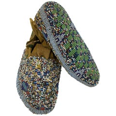 Antique Native American Childs Ceremonial Beaded Moccasins, Cheyenne, circa 1900