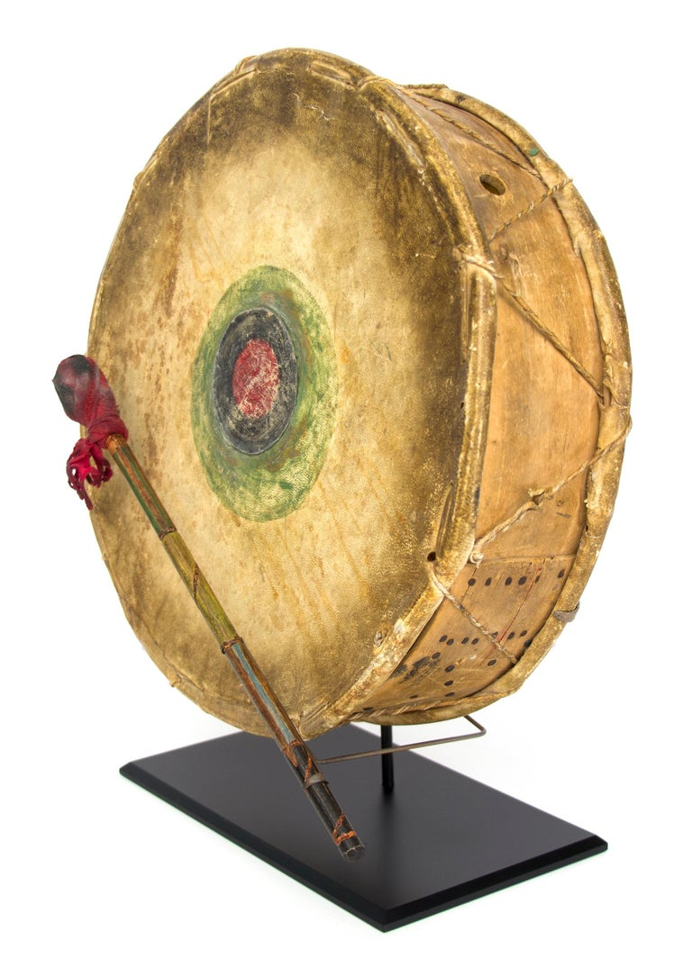 Hand-Painted Antique Native American Drum & Beater, Sioux 'Plains Indian', Early 20th Century For Sale