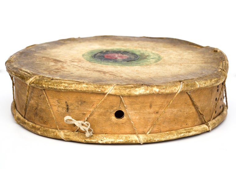 Hide Antique Native American Drum & Beater, Sioux 'Plains Indian', Early 20th Century For Sale
