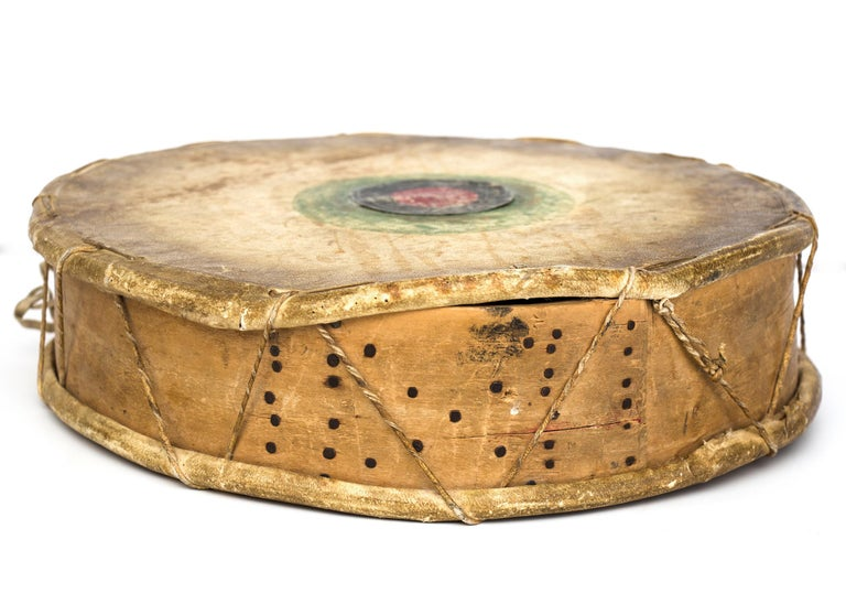 Antique Native American Drum & Beater, Sioux 'Plains Indian', Early 20th Century For Sale 1