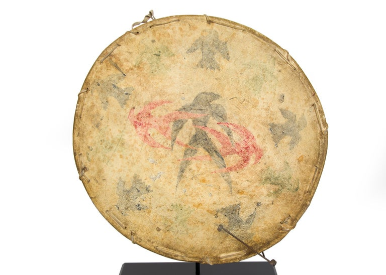 Antique Native American Drum & Beater, Sioux 'Plains Indian', Early 20th Century For Sale 3
