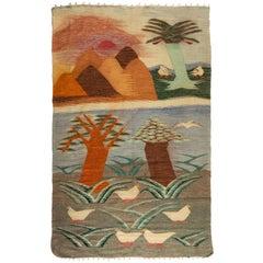 Antique Native American Navajo Landscape Weaving Rug with Birds, circa 1930s