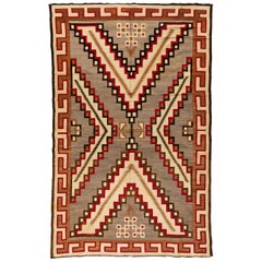 Antique Native American Navajo Large Geometric Grey Ivory Rug, circa 1920s-1930s