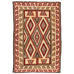 Antique Native American Navajo Large Geometric Grey Ivory Rug circa 1920s-1930s