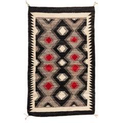 Antique Red Ivory Grey Black Geometric Native American Navajo Rug circa 1930s