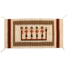 Antique Ivory Native American Navajo Weaving Rug with Figures circa 1950s