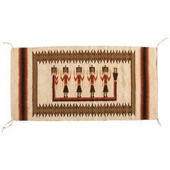 Antique Native American Navajo Weaving Rug with Figures, circa 1950s