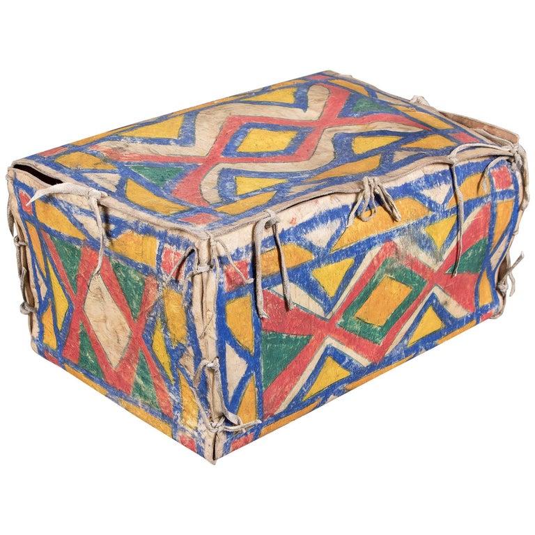 Antique Native American Painted Parfleche Box, Sioux, circa 1880