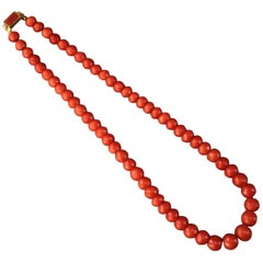 Antique Natural Coral Bead Necklace with 18 Karat Gold Clasp