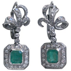 Antique Natural Emerald and Diamond Dangle Earrings in Platinum, 2.46 Carat