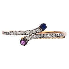 Antique Natural GIA Sapphire Diamond Ruby 18k Gold Bypass Bangle Bracelet