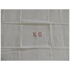 "Antique Natural Linen Embroidered Textile with Red Letters ""H"" & ""C"""