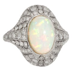Antique Natural Opal Diamond Ring Art Deco Platinum Vintage Cocktail Ring