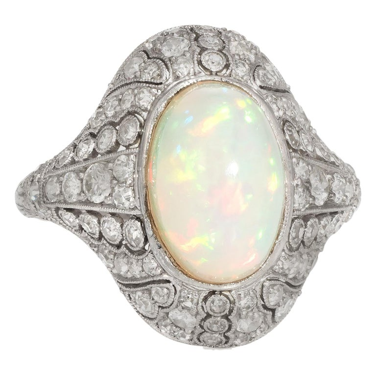 b31af0bef Antique Natural Opal Diamond Ring Art Deco Platinum Vintage Cocktail Ring  For Sale