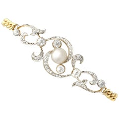 Antique Natural Pearl and 2.72 Carat Diamond Yellow Gold Bracelet