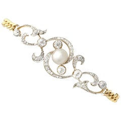 Antique Natural Pearl and 2.72 Carat Diamond, Yellow Gold Bracelet