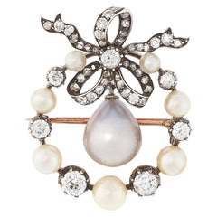 Antique Natural Pearl and Diamond Brooch Pendant