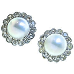 Antique Natural Pearl and Diamond Earrings, circa 1900
